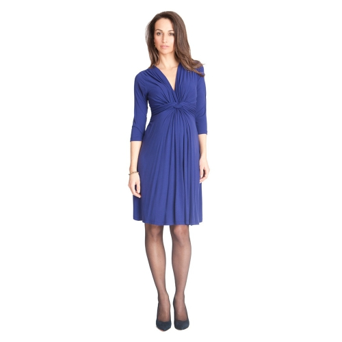 Women Maternity Dress Robe Ruched V-Neck 3/4 Sleeve Nursing Pregnancy Clothes Blue S