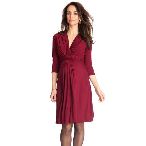 Платье для беременных женщин Robe Ruched V-Neck 3/4 Вязание для беременных Одежда для беременных Blue S