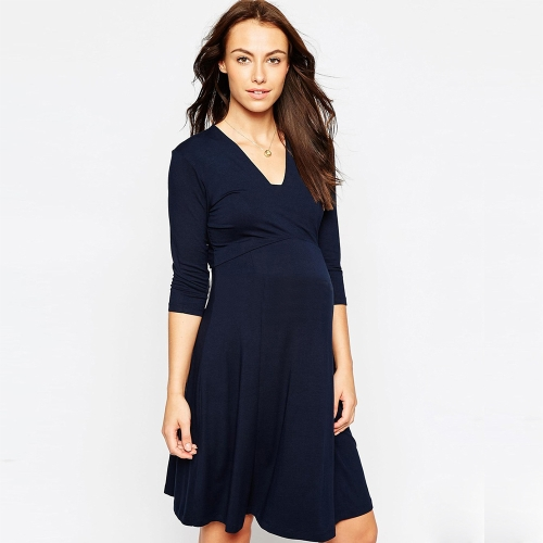 Women Maternity Dress Robe Ruched V-Neck Long Sleeve Nursing Pregnancy Clothes Dark Blue S