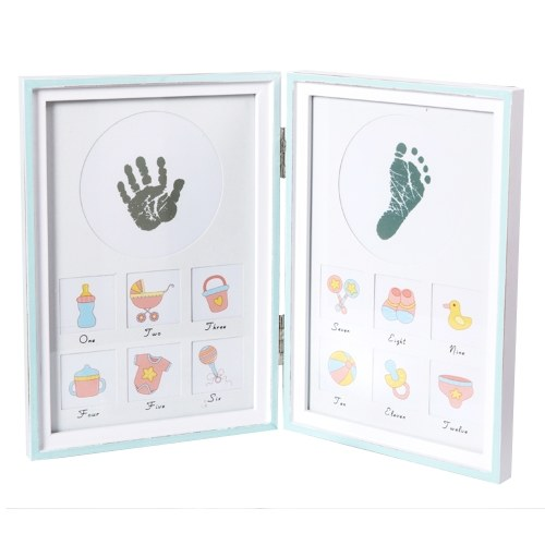 DIY Baby Handprint Footprint Picture Frame Kit Foldable Wooden Photo ...