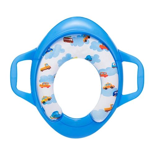 Asiento de inodoro de entrenamiento para niños con orinal para niños y niñas para inodoros redondos y ovalados de color azul