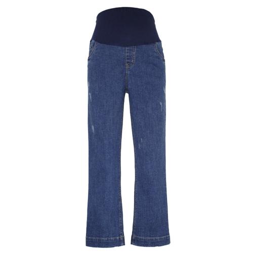 Женские ткани Брюки Высокие талии Широкая нога Комфорт Belly Extender Потянуть джинсовые джинсы Беременность Одежда M