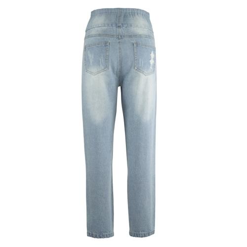 Женские ткани Брюки Высокие талии Разорванные отверстия Тощие джинсы Комфорт живота вытяжка вытащить на джинсы M