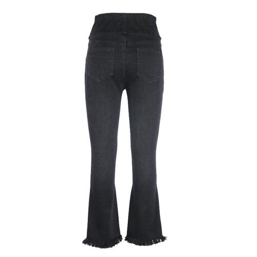 Женские ткани Брюки Высокие талии Широкие ножки Comfort Belly Extender Потяните джинсовые джинсы Беременность Одежда Black M