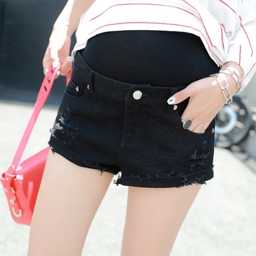 Женские ткани Шорты Брюки Летние джинсы Высокие талии Брюшная жилетница Шорты для джинсов Беременность Одежда Белый М