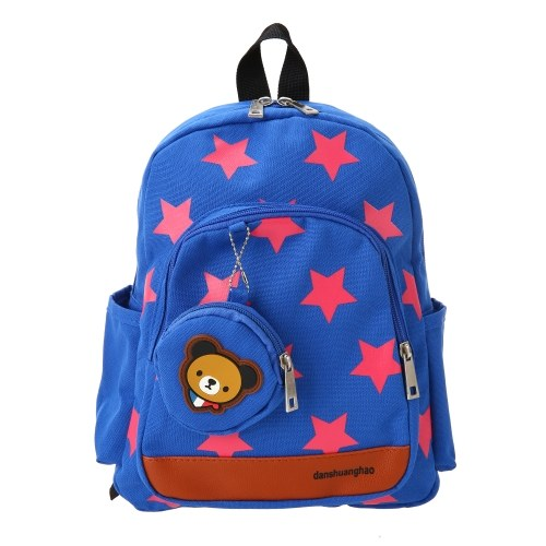 Kids School Bags Canvas Cute Star Pattern Travel Backpack Children Kindergarten Schoolbags With Coin Purse Red