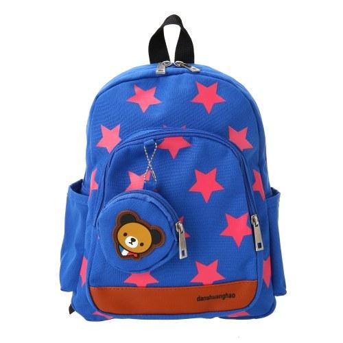 Детские школьные сумки Холст Симпатичные звезды Pattern Путешествия Рюкзак Дети Детский сад Школьные сумки с монетами Кошелек Красный