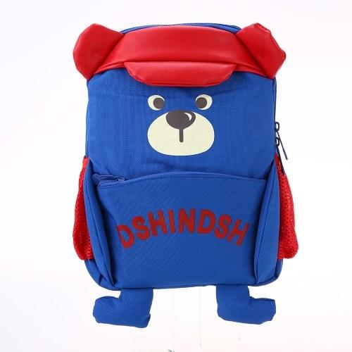Детские школьные сумки Рюкзак Холст Симпатичные мультфильмы Медведь Дети Детский сад Первичные школьные сумки Синий