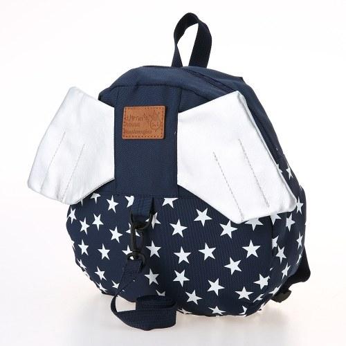 Детские школьные сумки Рюкзак Anti-lost Harness Холст Симпатичные дети Детский сад Школьные сумки с крыльями Темно-синяя звезда