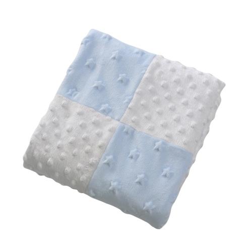 Manta de bebé Soft Polar Fleece de doble capa Swaddling Emboss Cochecito Coche Sofá Ropa de cama Manta Boy Girl azul