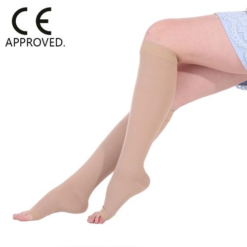 Медицинское качество 40-50 мм рт.ст. Оконченные компрессионные носки Колено Высокое открытое пальцевое соединение 1 пара Крепление под давлением Штаны Шланг CE Утвержденный S / M / L / XL / XXL