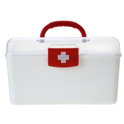 Carevas Kunststoff Erste Hilfe Medizin Aufbewahrungsbox Veranstalter Handhled Familie Notfall Kit Aufbewahrungskoffer mit Abnehmbarem Fach
