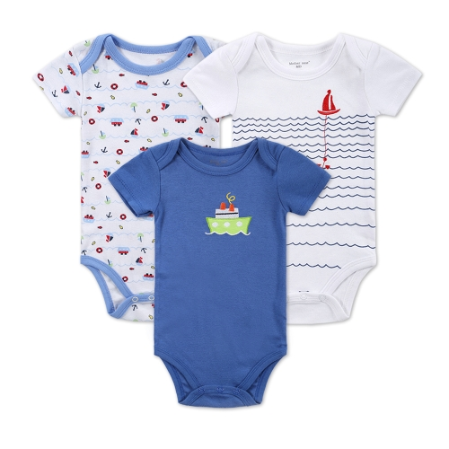 3pcs Baby Rompers Set Bodysuit 100% Cotton Short Sleeve Boy Baby Clothing 0-3M