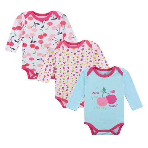 3pcs Baby Rompers Bodysuit Clothes Set 100% Хлопок с длинным рукавом для новорожденного Baby Infant Girl 9-12M