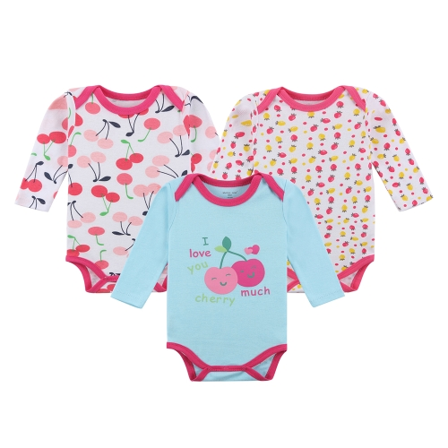 3pcs Baby Rompers Bodysuit Clothes Set 100% Cotton Long Sleeve For Newborn Baby Infant Girl 9-12M