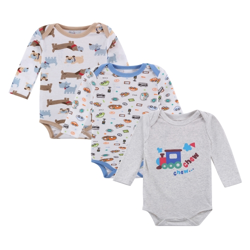 3pcs Baby Rompers Bodysuit Clothes Set 100% Cotton Long Sleeve For Newborn Baby Infant Boy 0-3M