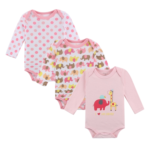 3pcs Baby Rompers Bodysuit Clothes Set 100% Cotton Long Sleeve For Newborn Baby Infant Girl 0-3M