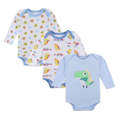 3pcs Baby Rompers Bodysuit Clothes Set 100% Cotton Long Sleeve For Newborn Baby Infant Boy 9-12M
