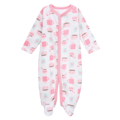Baby Coveralls Rompers Set 100% Cotton Jumpsuit Footsies Clothing For Newborn Baby Infant  Pink Printing Girl 0-3Month