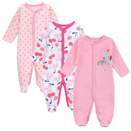 3pcs Baby Coveralls Rompers Set 100% Cotton Jumpsuit Footsies Clothing For Newborn Baby Infant Girl 0-3M