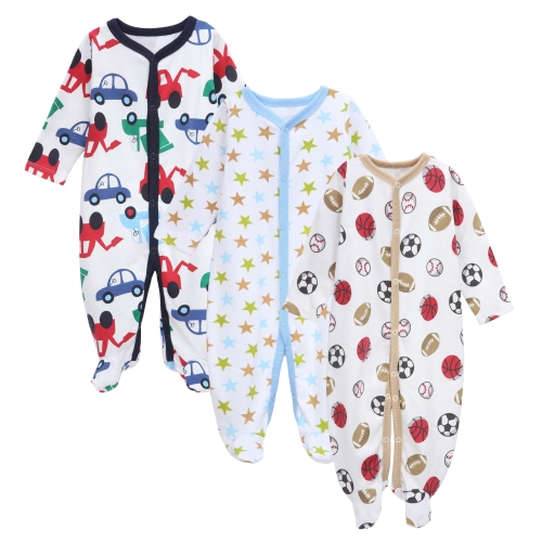 3pcs bébé combinaisons barboteuses ensemble 100% coton Jumpsuit Footsies vêtements