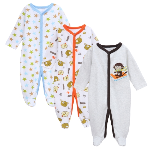 3pcs Baby Coveralls Rompers Set 100% Cotton Jumpsuit Footsies Clothing For Newborn Baby Infant Boy 0-3Monht