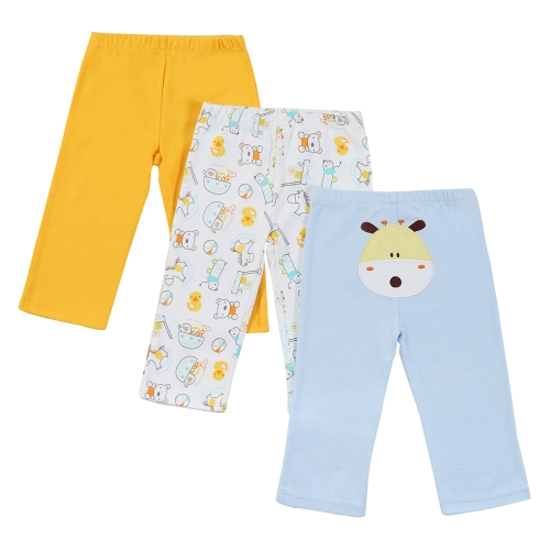3Pcs Baby Pants Set 100% Cotton Unisex For Newborn Baby Infant 0-3M