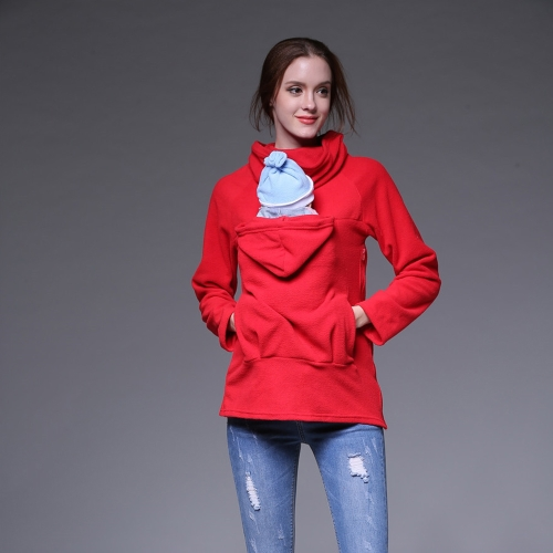 Womens Maternity Sweatshirt Kangaroo Hooded Outwear Coat Jacket for Baby Carriers Red XXL