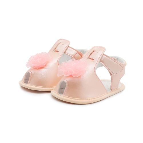 Младенческая малышей Детские ботинки Летние сандалии Мягкие подошвы Нескользящий цветок Prewalker Белый 4M