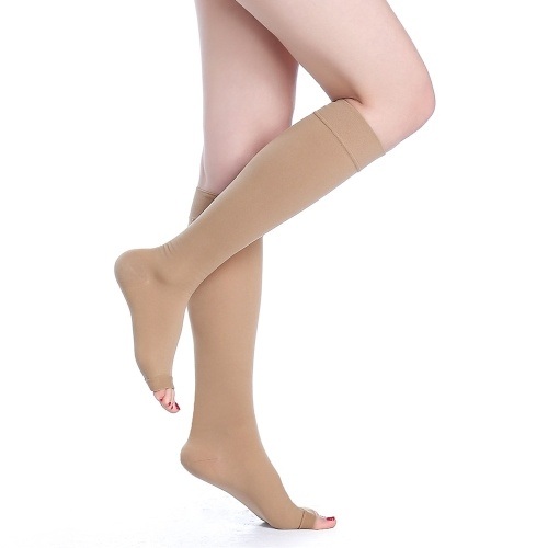 Second Hand Medical Quality 40-50mmHg Graduated Compression Socks Knee High Open-Toe 1 Pair Firm Pressure Support Stockings Hose CE Approved S/M/L/XL/XXL