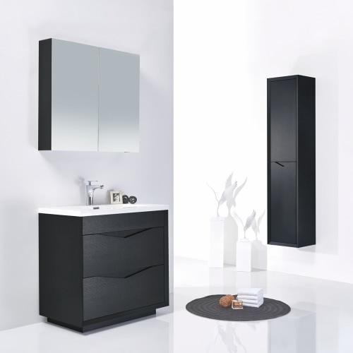 Meuble salle de bain en bois simple vasque - Noir / Gris