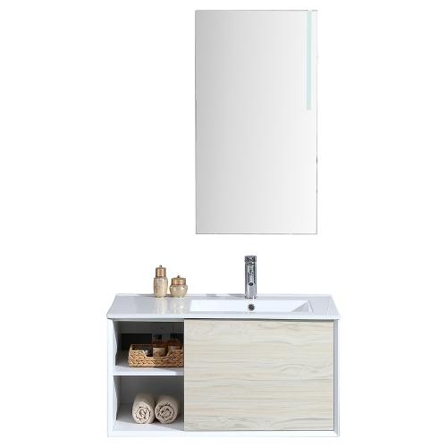 ALOA - Meuble salle de bain simple vasque 90cm + miroir LED