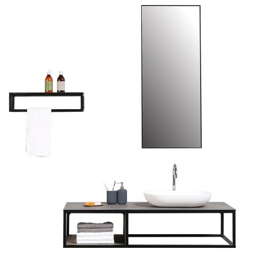 Meuble de salle de bain JAVA simple vasque avec miroir et étagère