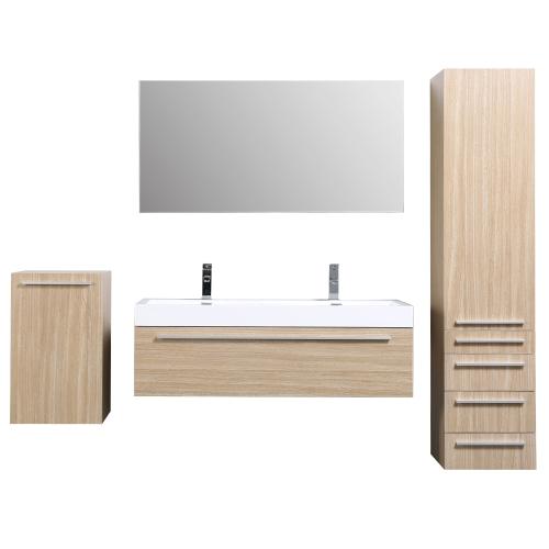 JAVA - Meuble de salle de bain suspendu double vasque 120cm 2 colonnes + miroir chêne clair
