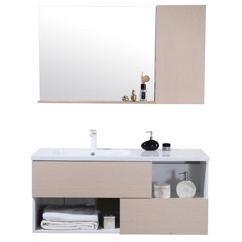 JAVA - Meuble salle de bain suspendu simple vasque 120cm  + miroir armoire