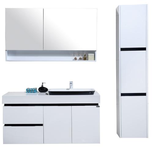 Meuble salle de bain  colonne de rangement simple vasque - Blanc et noir brillant