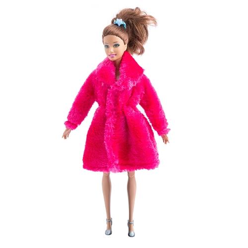 Мода Барби Игрушка Одежда Аксессуары Зимние Плюшевые Пальто для Барби Кукла Одежда Dressing