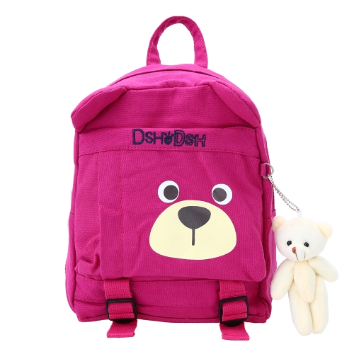 Kids School Bags Backpack Canvas Cute Children Kindergarten Primary Schoolbags Cartoon Bear Plush Toys Black
