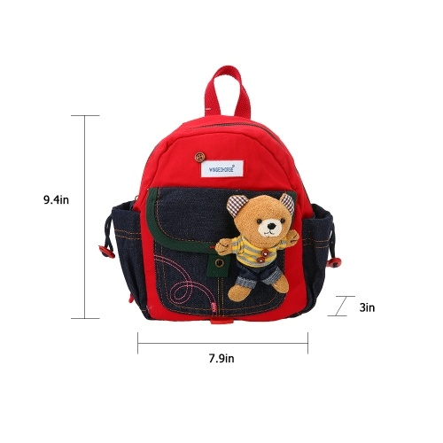 Kids School Bags Anti-lost Backpack Canvas Kindergarten  Schoolbags With Safety Harness & Plush Toys Red
