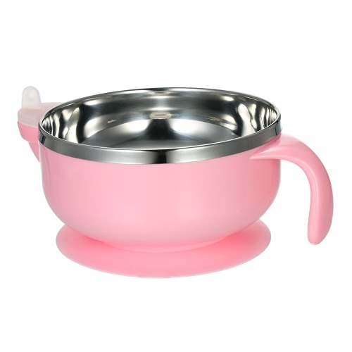 Baby Feeding Bowl Double Layer Anti-Scald Bowl With  Water Chamber Lid & Stay-Put Suction Base Stainless Steel For Baby Toddler Pink