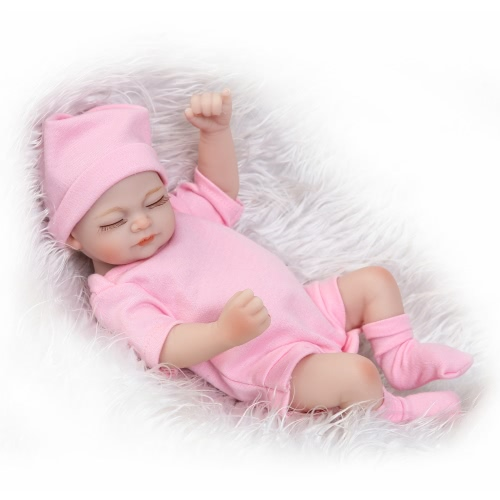 25cm Reborn Baby Doll Girl Baby Bath Toy Full Silicone Body Eyes Close Sleeping With Clothes Lifelike Cute Gifts Toy