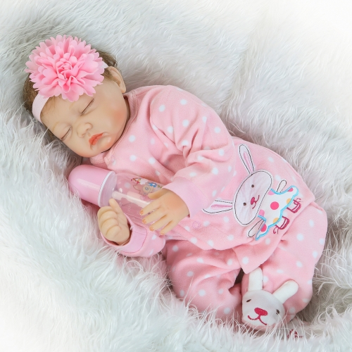 22inch Silicon Reborn Sleeping Baby Doll Eye Close С одеждой для волос Lifelike Cute Gifts Toy