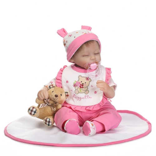 16inch Silicon Reborn Toddler Doll Sleeping Baby Doll Girl Eyes Close With Hair Clothes Boneca Lifelike Cute Gifts Toy