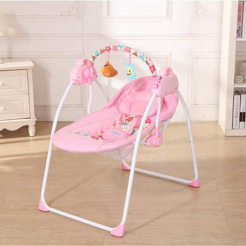Electric Baby Cradle Swing Rocking Connect Mobile Play Music Chair Sleeping Basket Bed Crib For Newborn Infant Pink