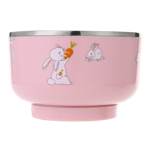 Intelligent Electric Baby Kids Heat Insulation Bowl  Rechargable Heating Anti-scalding Stainless Steel Tableware With Lid Pink