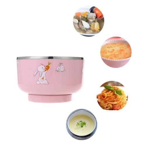 Интеллектуальная электрическая детская детская теплоизоляционная чаша для подзарядки Обогрев против ошпаривания Посуда из нержавеющей стали с крышкой Pink
