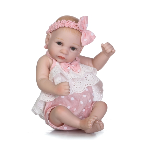 10inch 25cm Reborn Baby Doll Boy Full Silicone Sleeping Doll Bath Toy Realitic Lifelike Pink