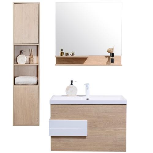 JAVA - Meuble de salle de bain suspendu simple vasque 80cm colonne + miroir étagère