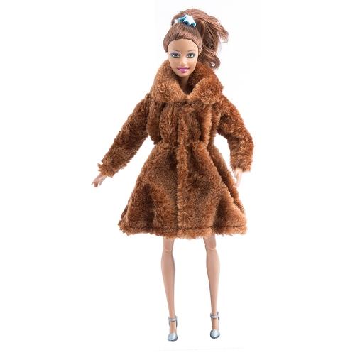 Moda Barbie Toy Clothes Accesorio Winter Plush Coat para Barbie Doll Clothes Dressing