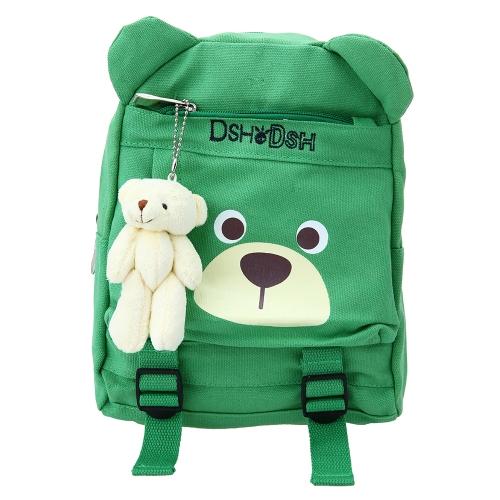 Детские школьные сумки Рюкзак Холст Симпатичные дети Детский сад Первичные школьные сумки Мультфильм Медведь Плюшевые игрушки Черный